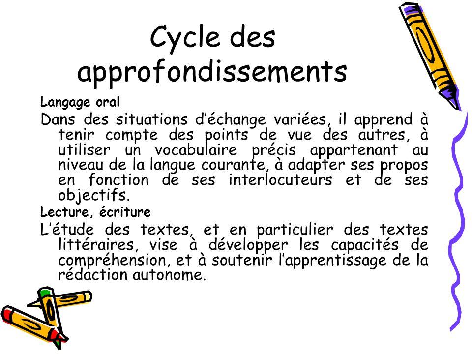 Cycle des approfondissements