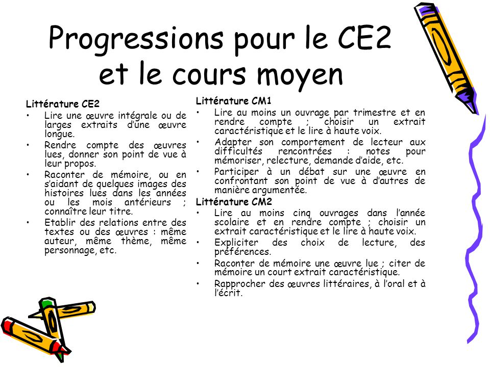 Progressions pour le CE2 et le cours moyen