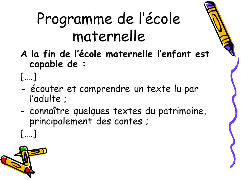 Programme de l'école maternelle