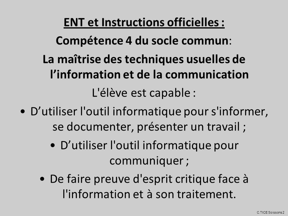 ENT et Instructions officielles :
