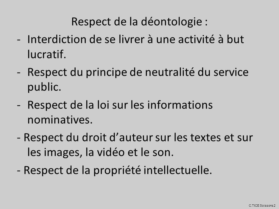 Respect de la déontologie :