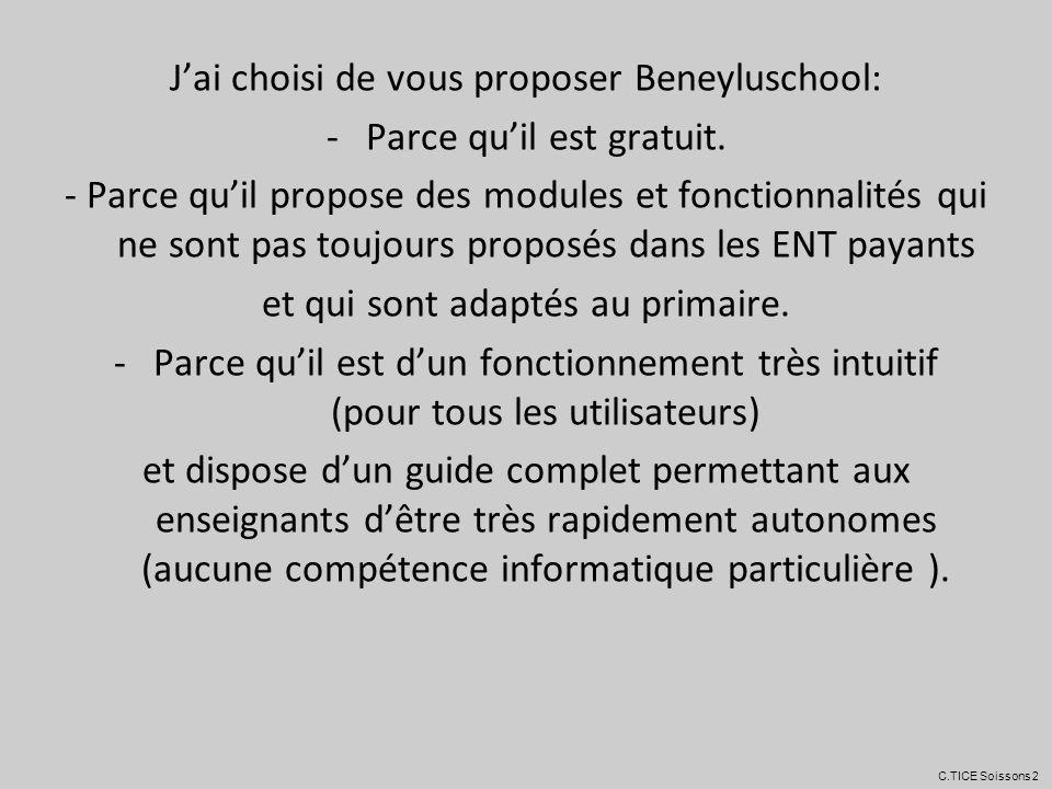 J'ai choisi de vous proposer Beneyluschool: Parce qu'il est gratuit.