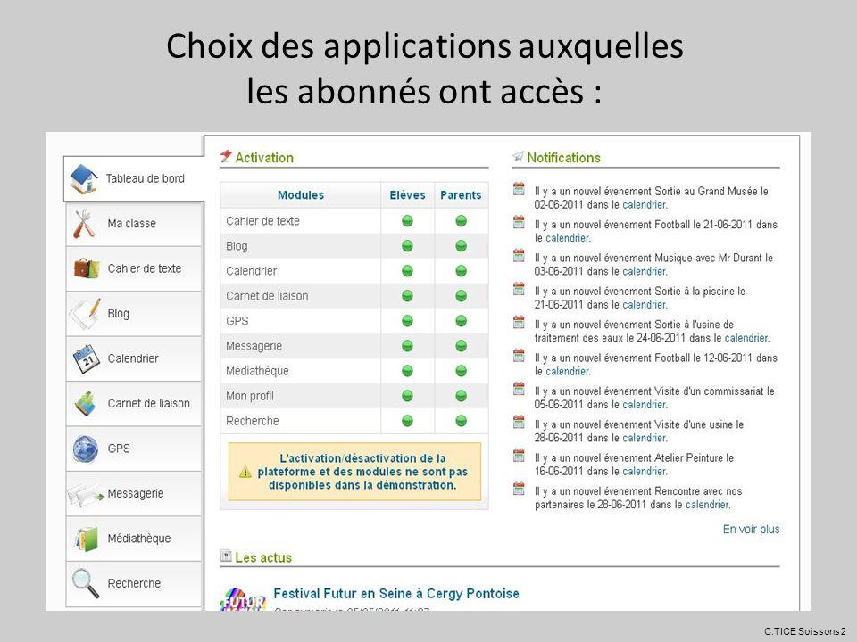 Choix des applications auxquelles