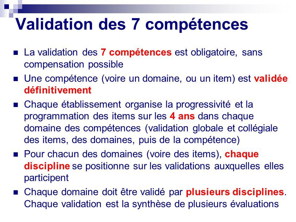 Validation des 7 compétences