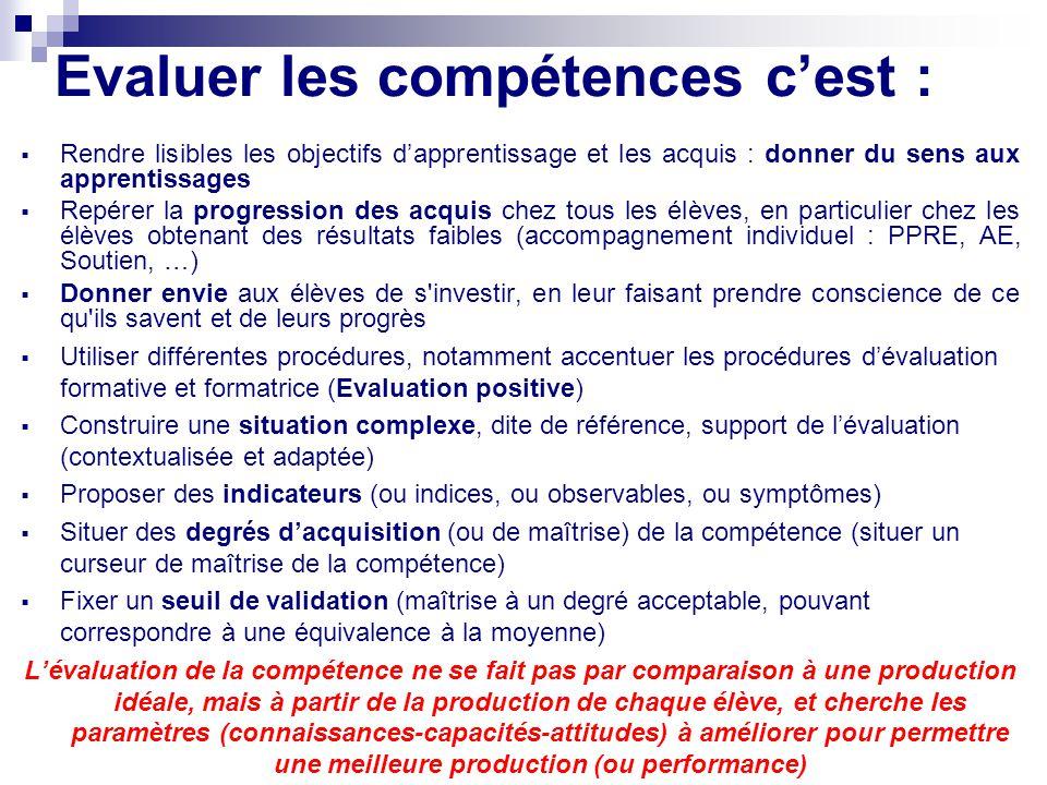 Evaluer les compétences c'est :