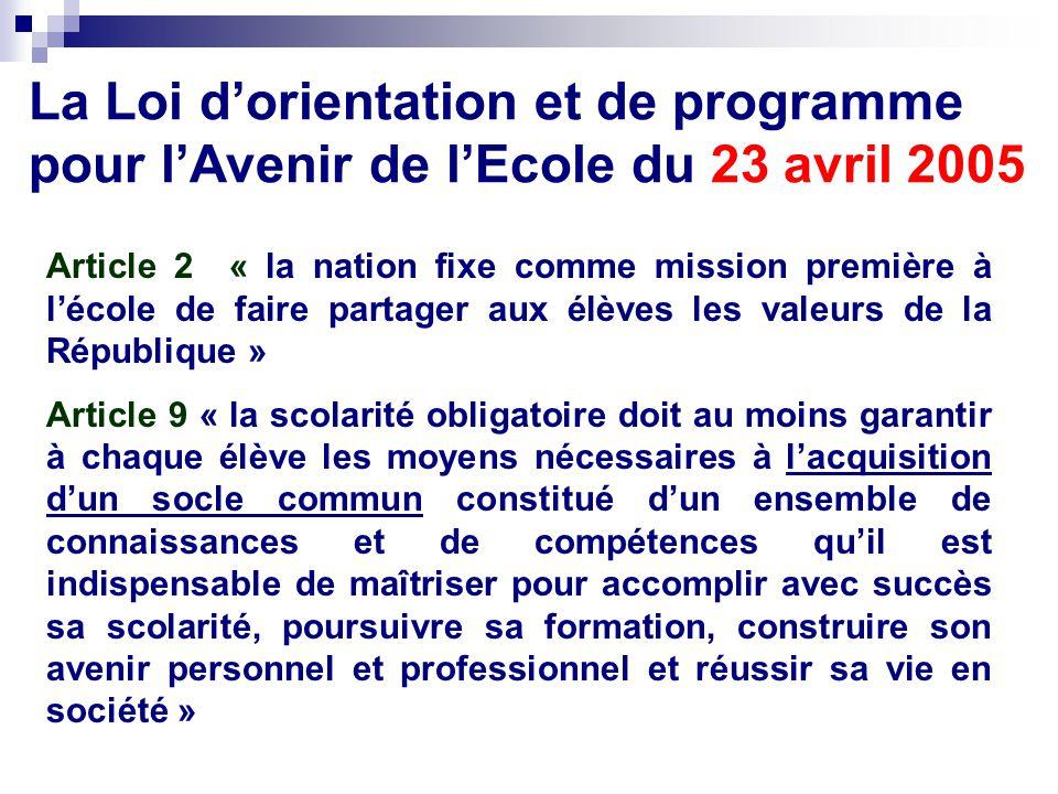 La Loi d'orientation et de programme pour l'Avenir de l'Ecole du 23 avril 2005