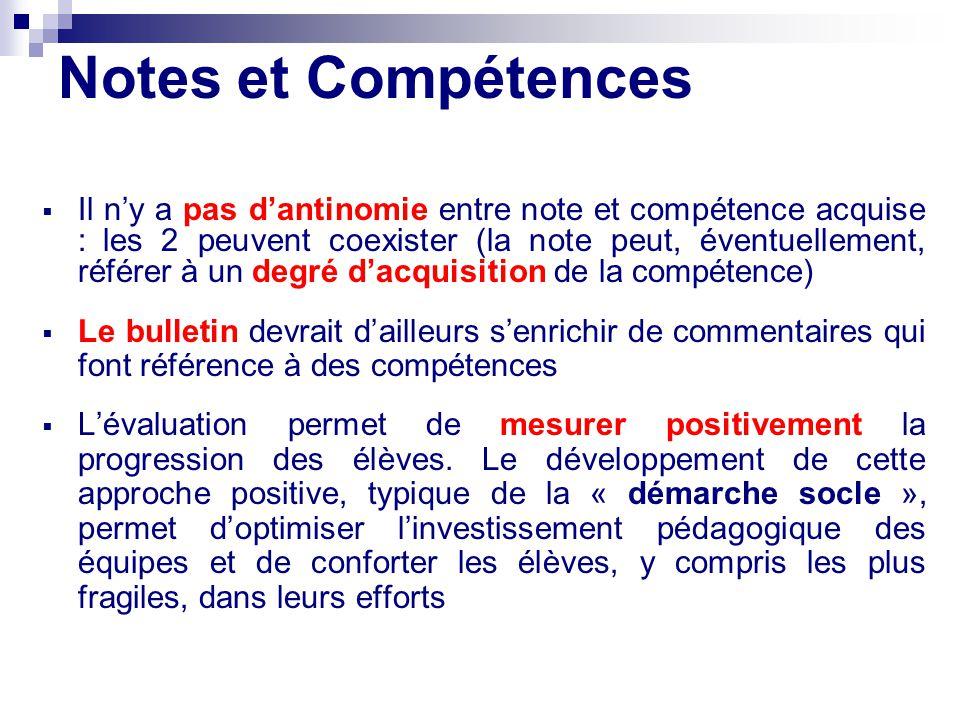 Notes et Compétences