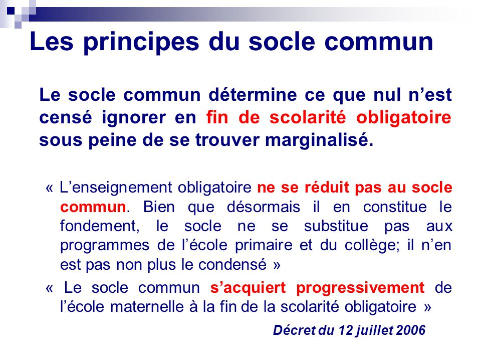 Les principes du socle commun