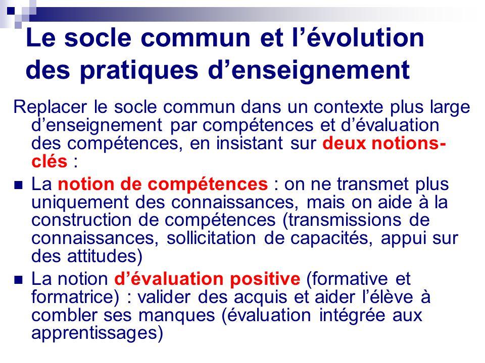 Le socle commun et l'évolution des pratiques d'enseignement