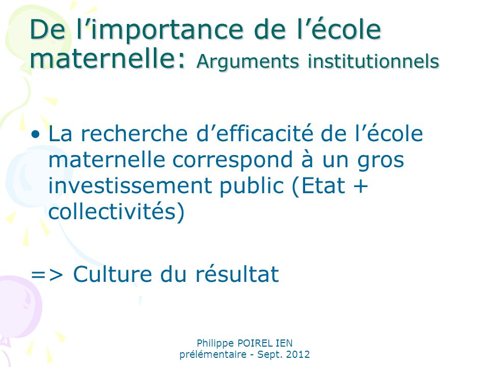 De l'importance de l'école maternelle: Arguments institutionnels