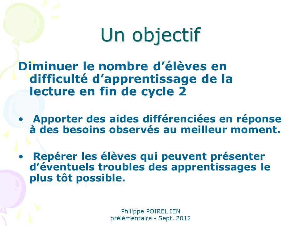 Philippe POIREL IEN prélémentaire - Sept. 2012