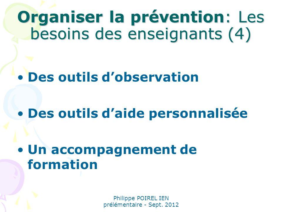 Organiser la prévention: Les besoins des enseignants (4)
