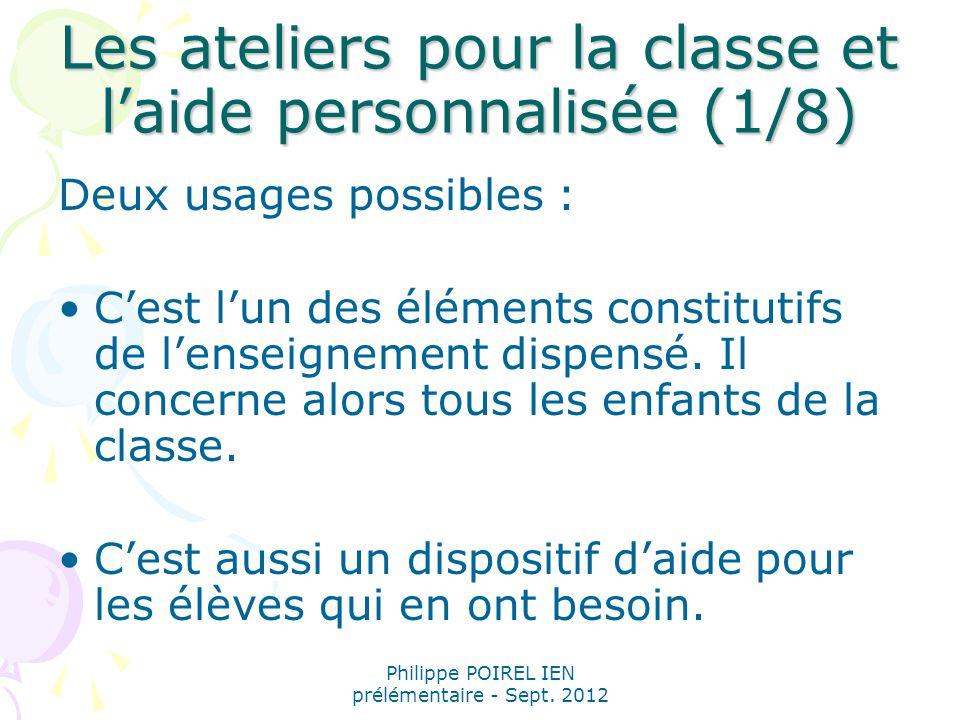 Les ateliers pour la classe et l'aide personnalisée (1/8)