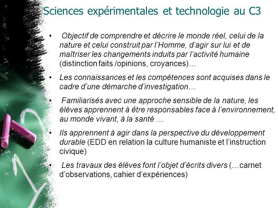Sciences expérimentales et technologie au C3