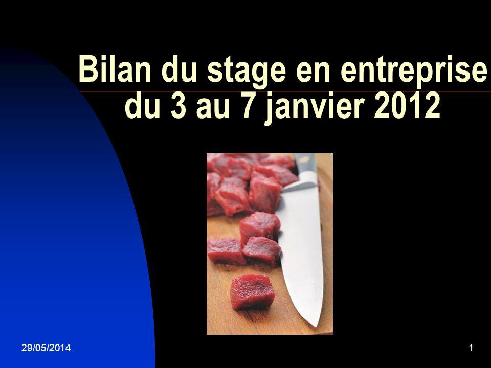 Bilan du stage en entreprise du 3 au 7 janvier 2012