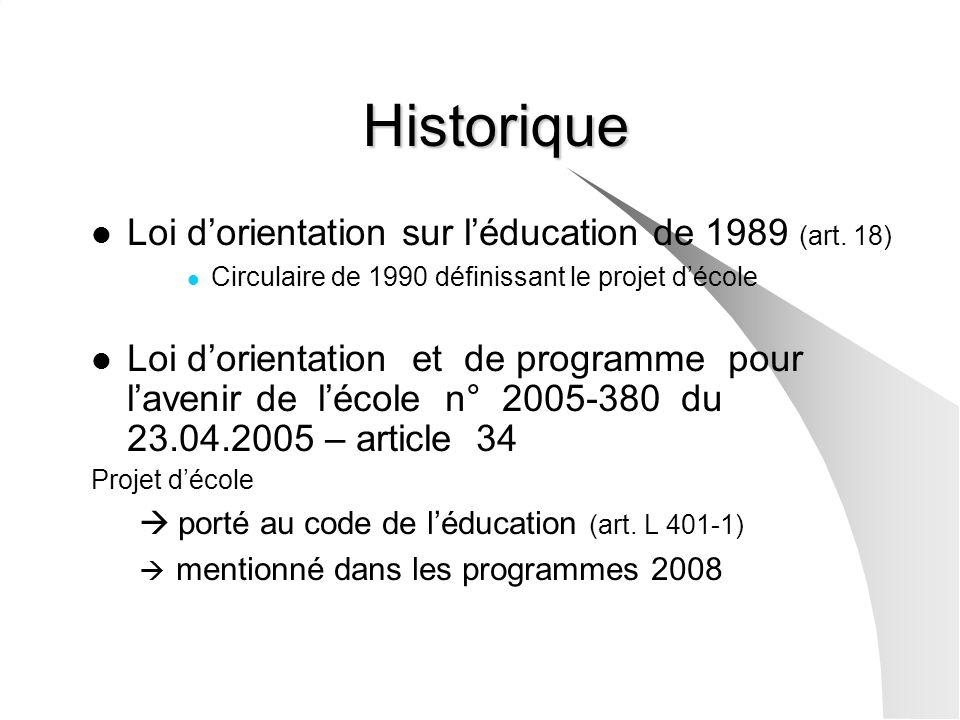 Historique Loi d'orientation sur l'éducation de 1989 (art. 18)