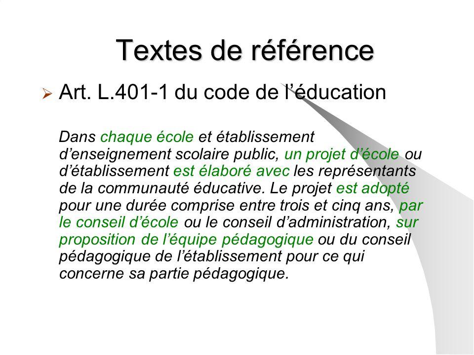 Textes de référence Art. L.401-1 du code de l'éducation