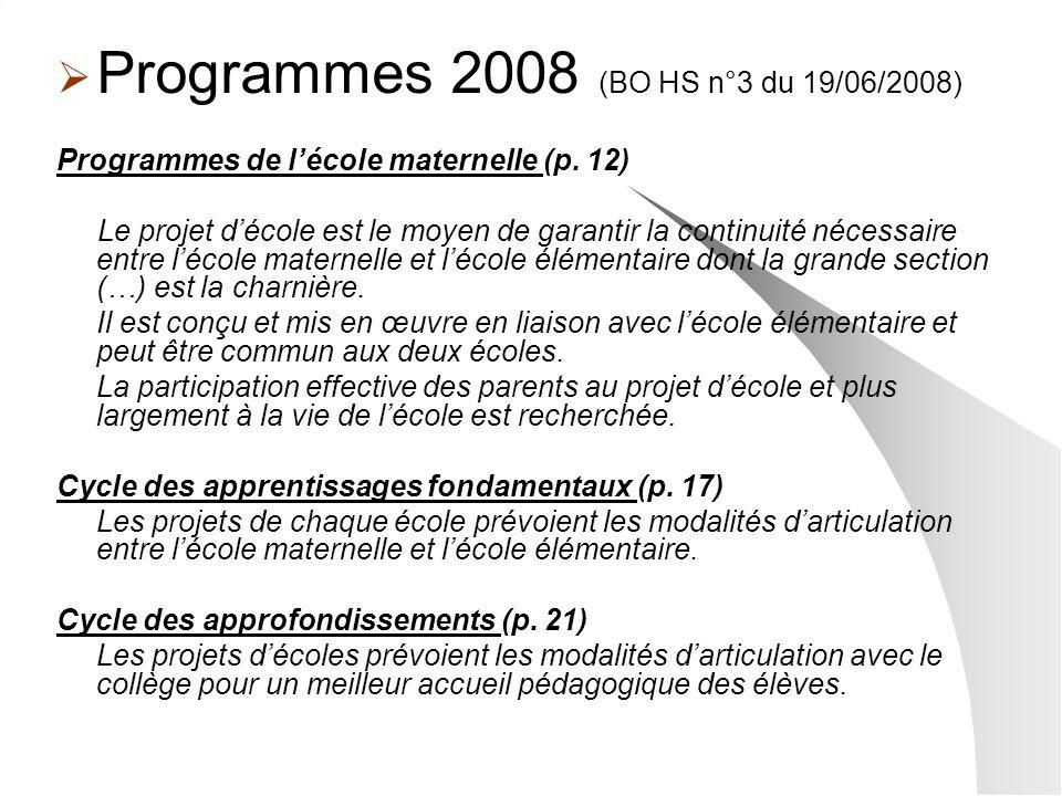 Programmes 2008 (BO HS n°3 du 19/06/2008)