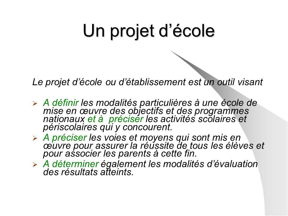 Un projet d'école Le projet d'école ou d'établissement est un outil visant.