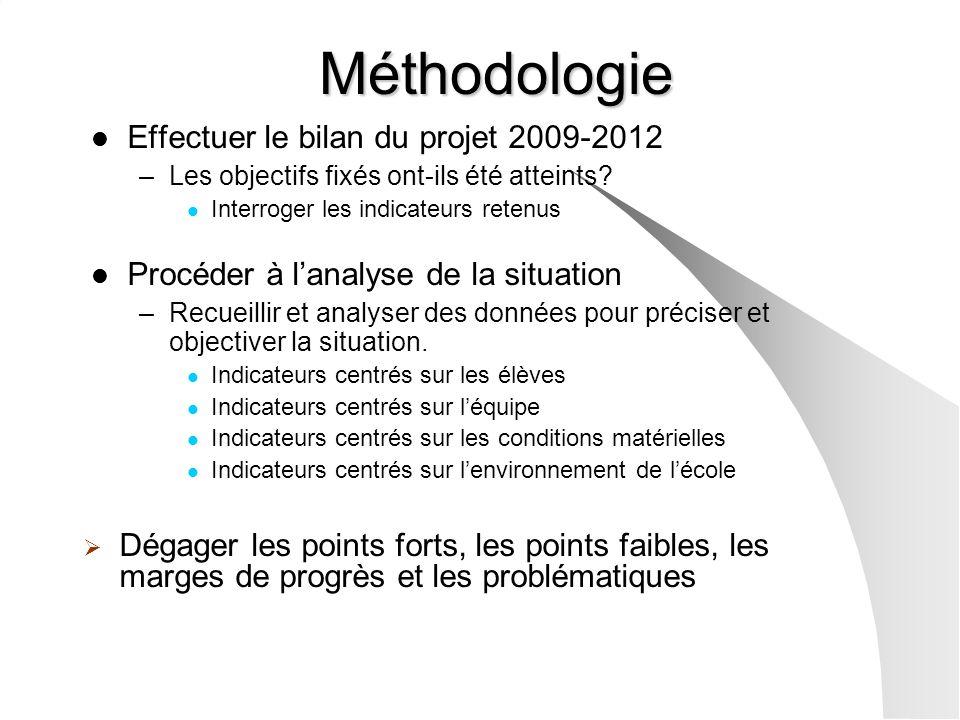 Méthodologie Effectuer le bilan du projet 2009-2012
