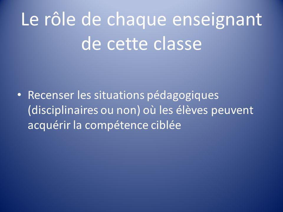 Le rôle de chaque enseignant de cette classe