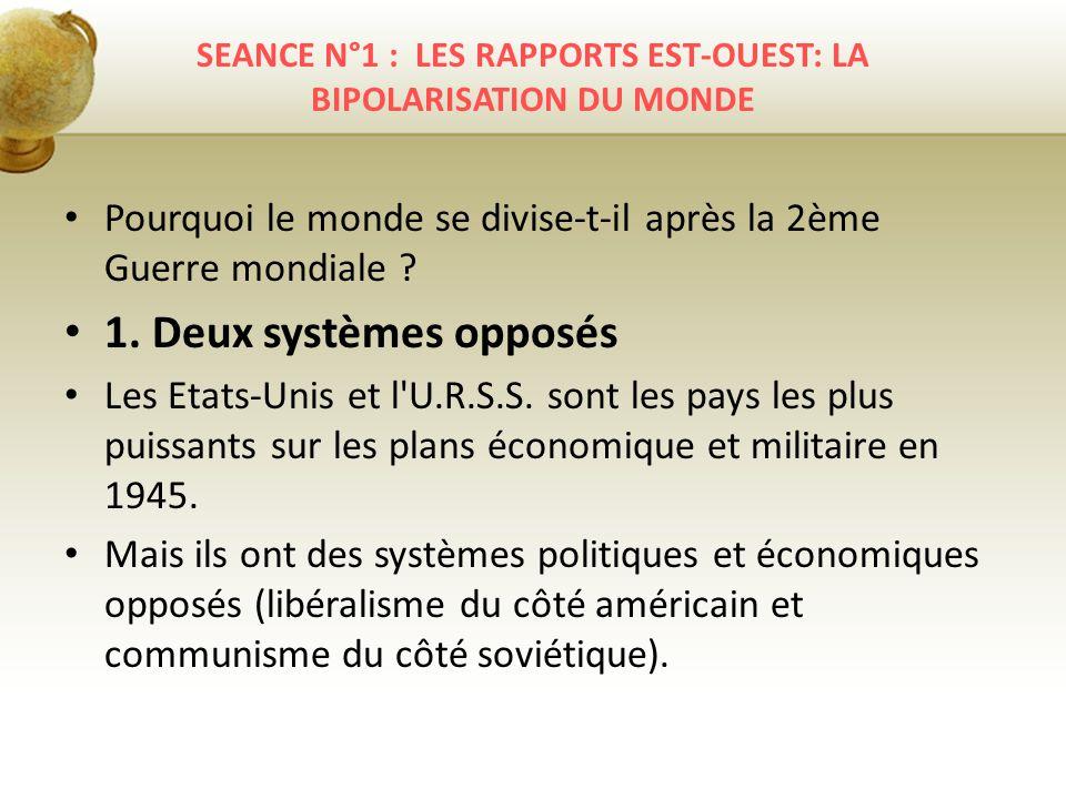 SEANCE N°1 : LES RAPPORTS EST-OUEST: LA BIPOLARISATION DU MONDE