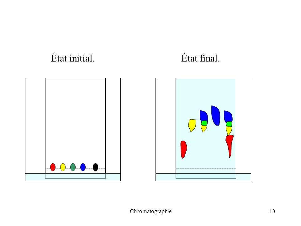 État initial. État final. Chromatographie