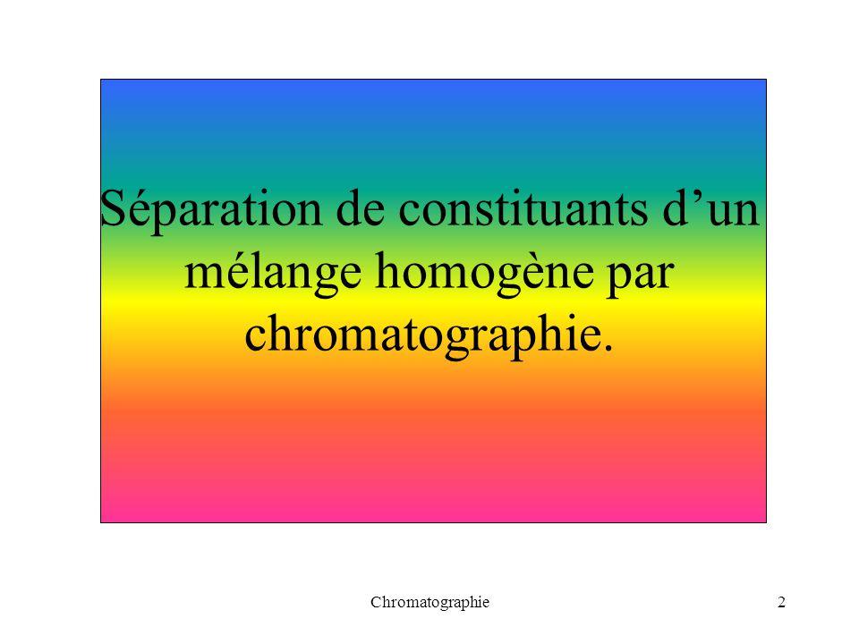 Séparation de constituants d'un mélange homogène par chromatographie.