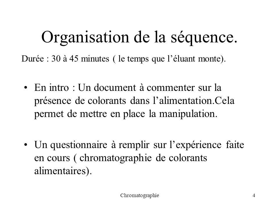Organisation de la séquence.