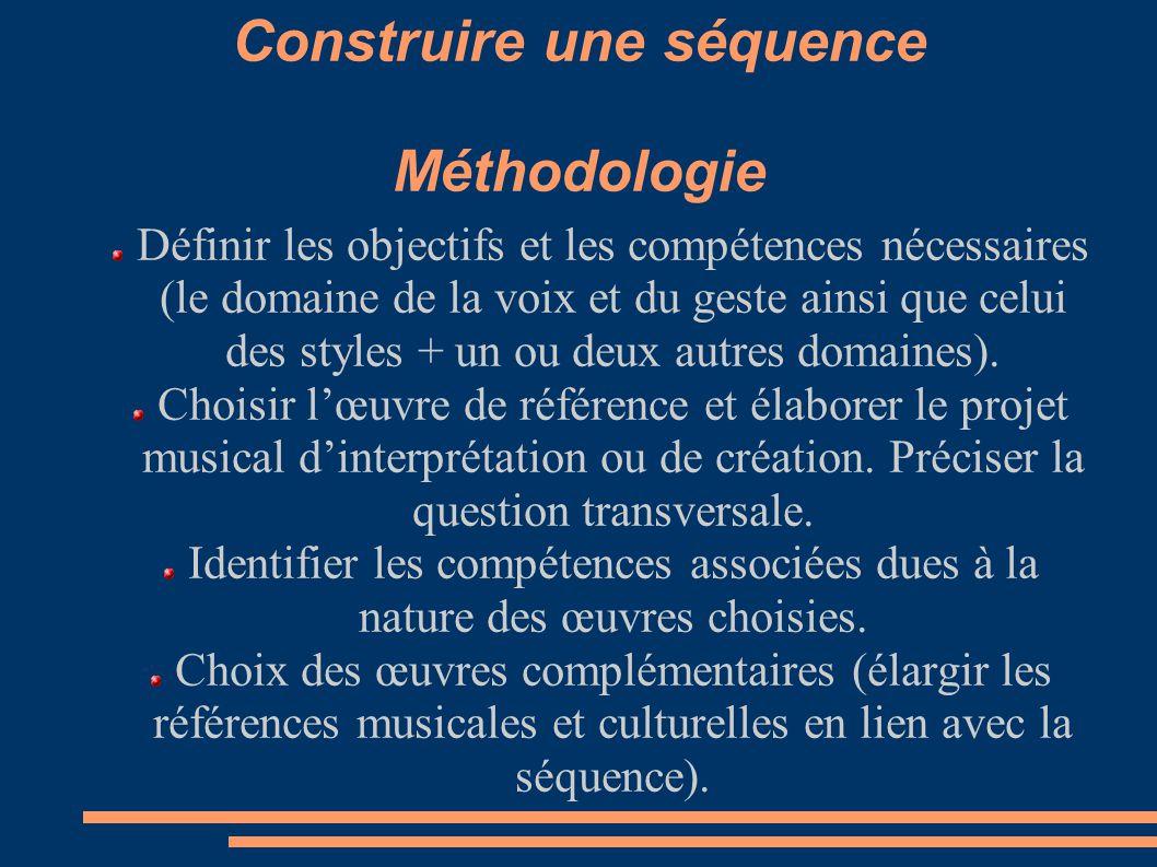 Construire une séquence Méthodologie