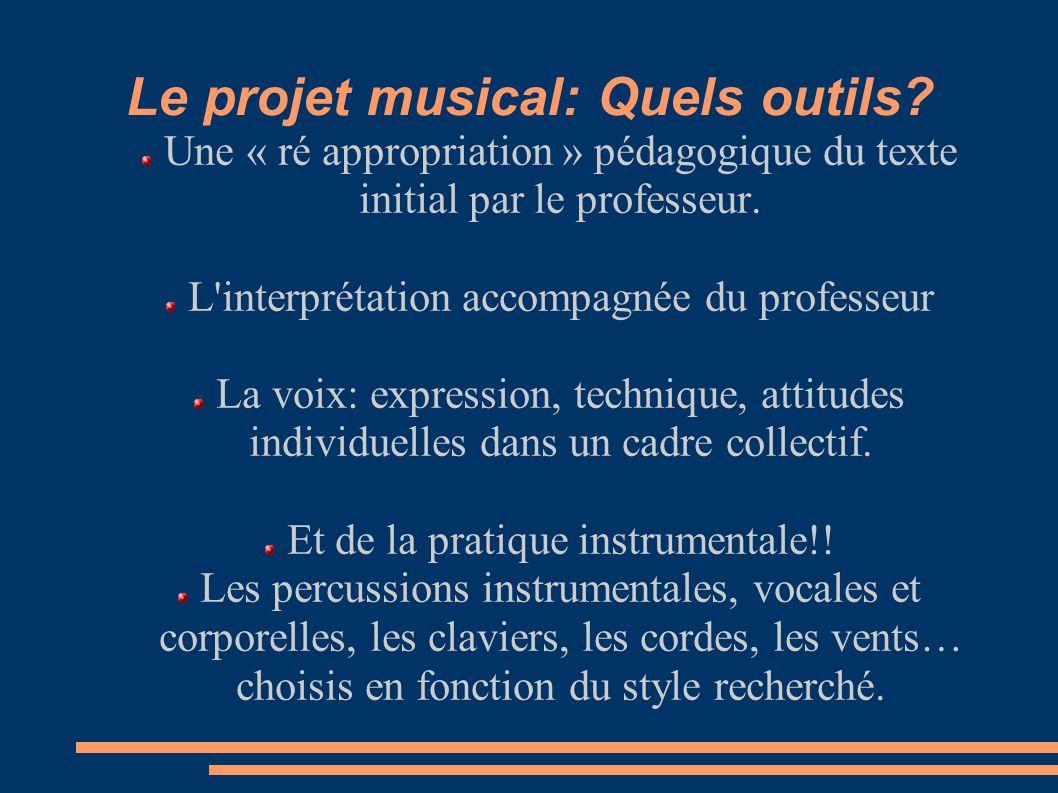 Le projet musical: Quels outils