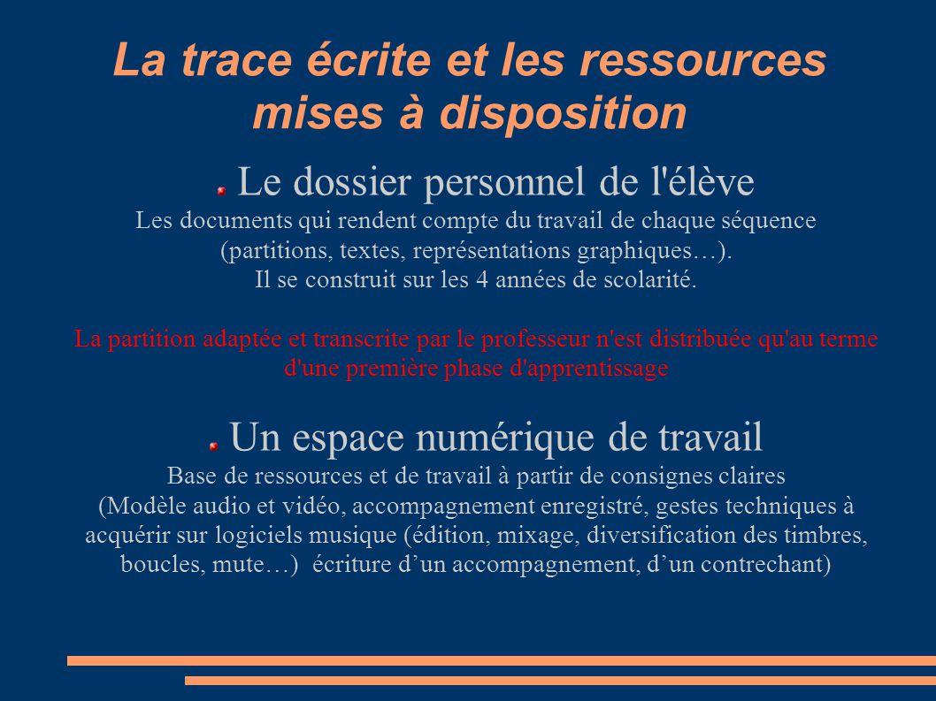 La trace écrite et les ressources mises à disposition
