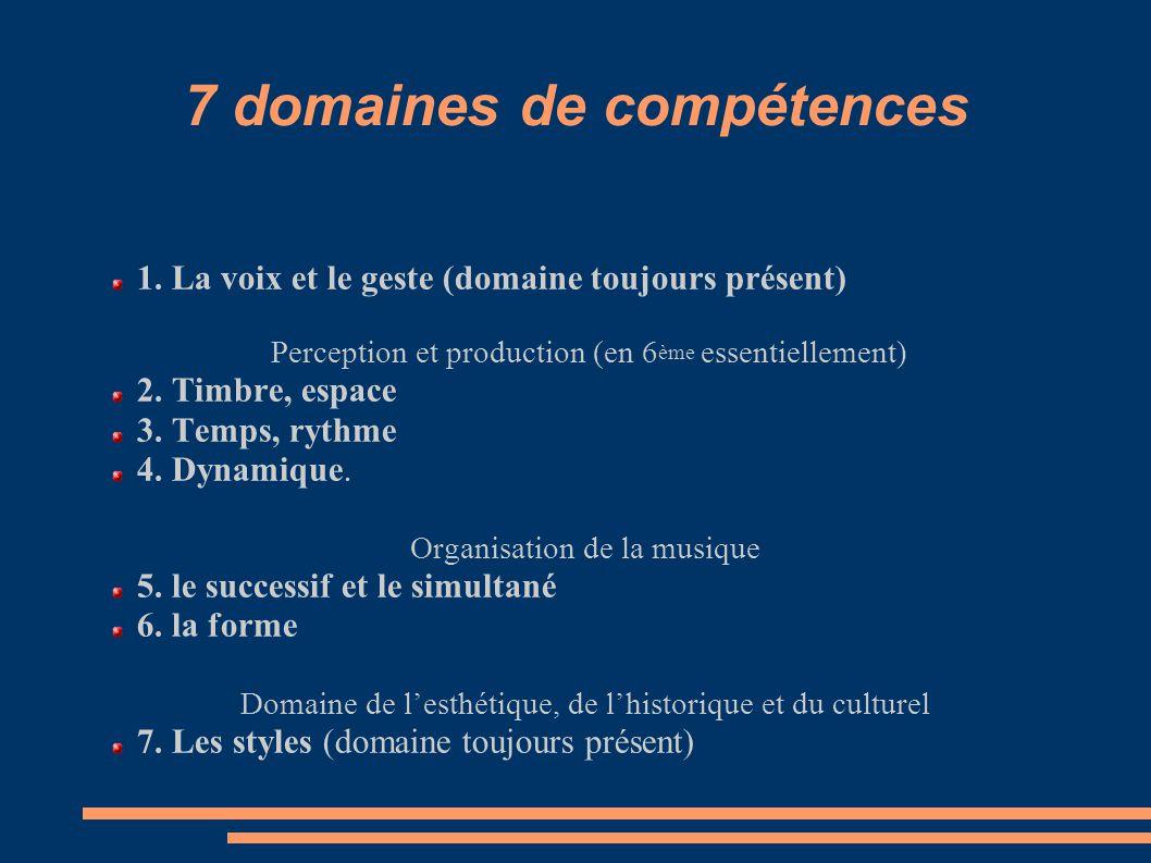 7 domaines de compétences