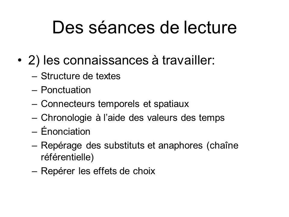 Des séances de lecture 2) les connaissances à travailler:
