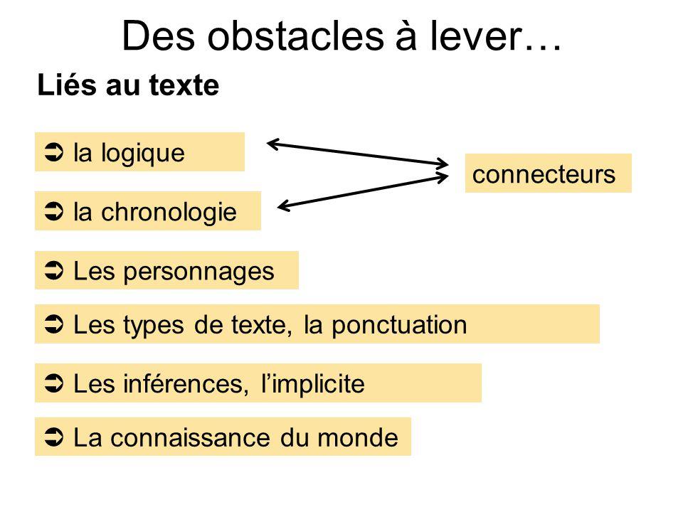 Des obstacles à lever… Liés au texte  la logique connecteurs