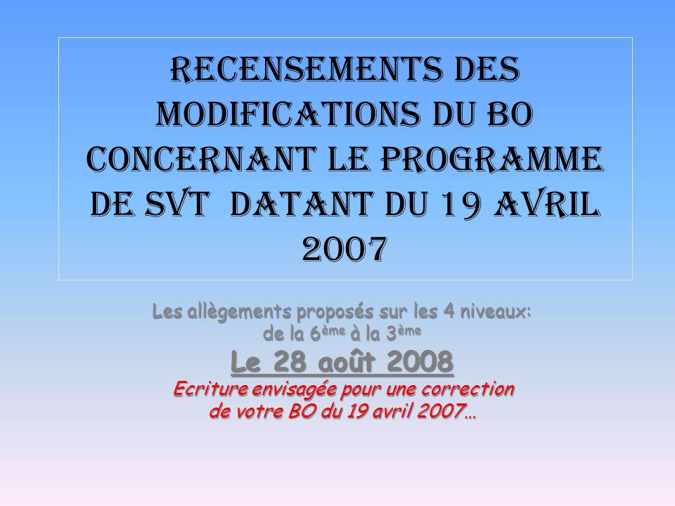 Recensements Des modifications du BO concernant le programme de SVT datant du 19 avril 2007