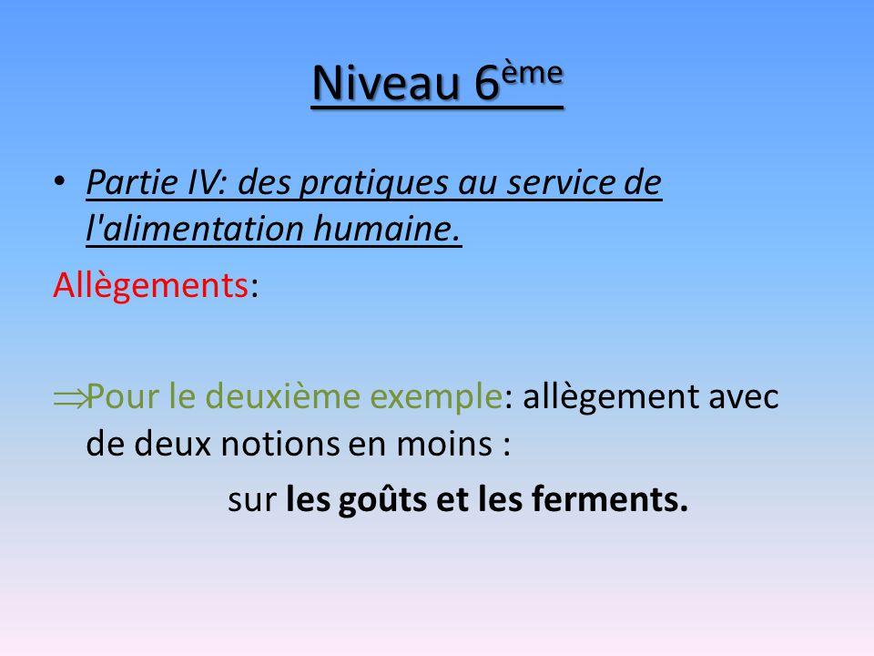 Niveau 6ème Partie IV: des pratiques au service de l alimentation humaine. Allègements: