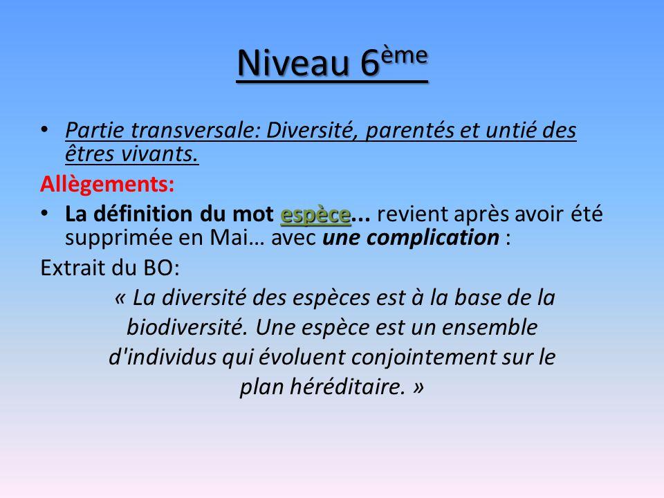 Niveau 6ème Partie transversale: Diversité, parentés et untié des êtres vivants. Allègements: