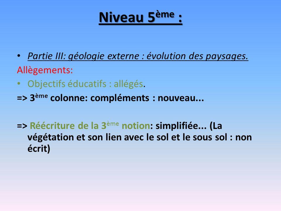 Niveau 5ème : Partie III: géologie externe : évolution des paysages.