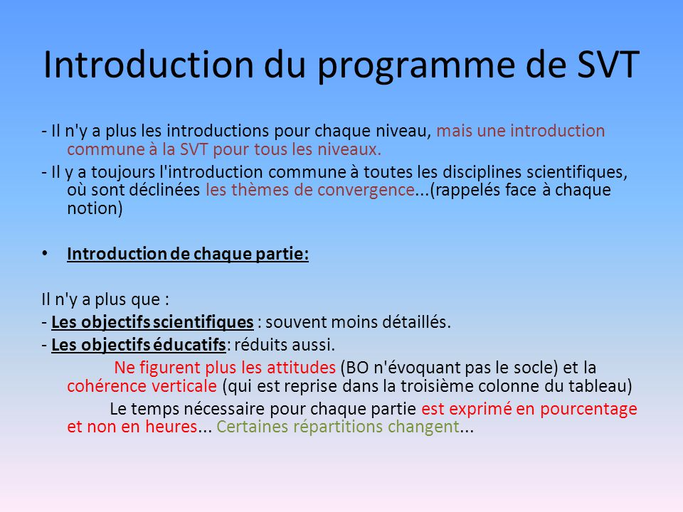 Introduction du programme de SVT