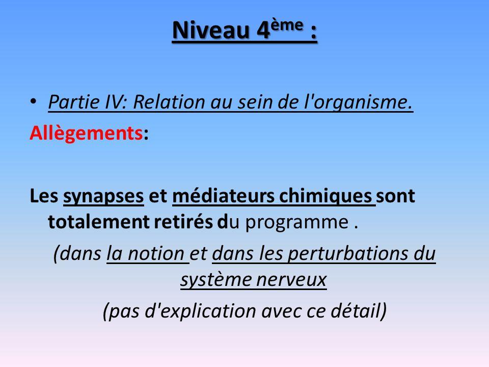 Niveau 4ème : Partie IV: Relation au sein de l organisme. Allègements: