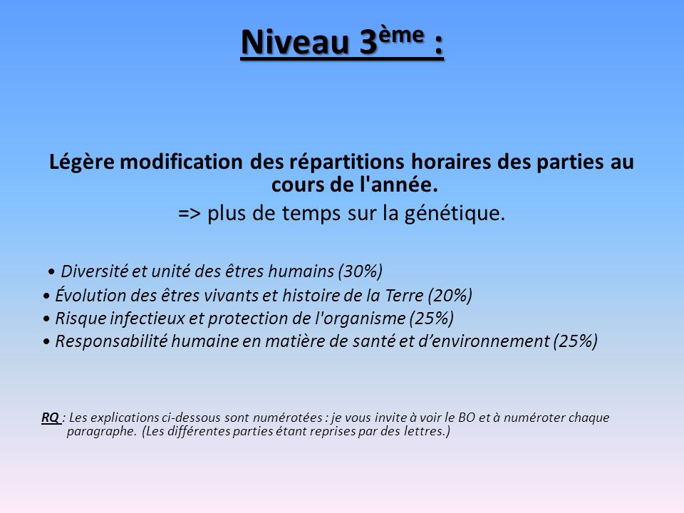 Niveau 3ème : Légère modification des répartitions horaires des parties au cours de l année. => plus de temps sur la génétique.