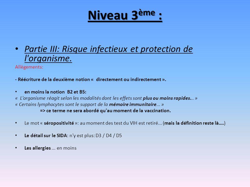 Niveau 3ème : Partie III: Risque infectieux et protection de l organisme. Allègements: