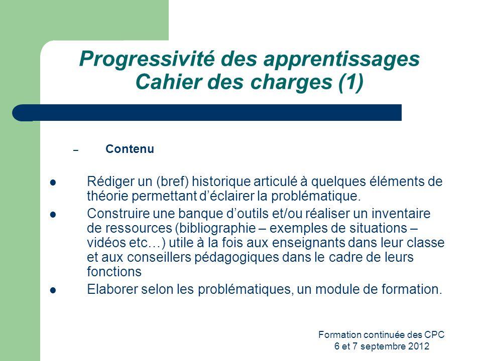 Progressivité des apprentissages Cahier des charges (1)