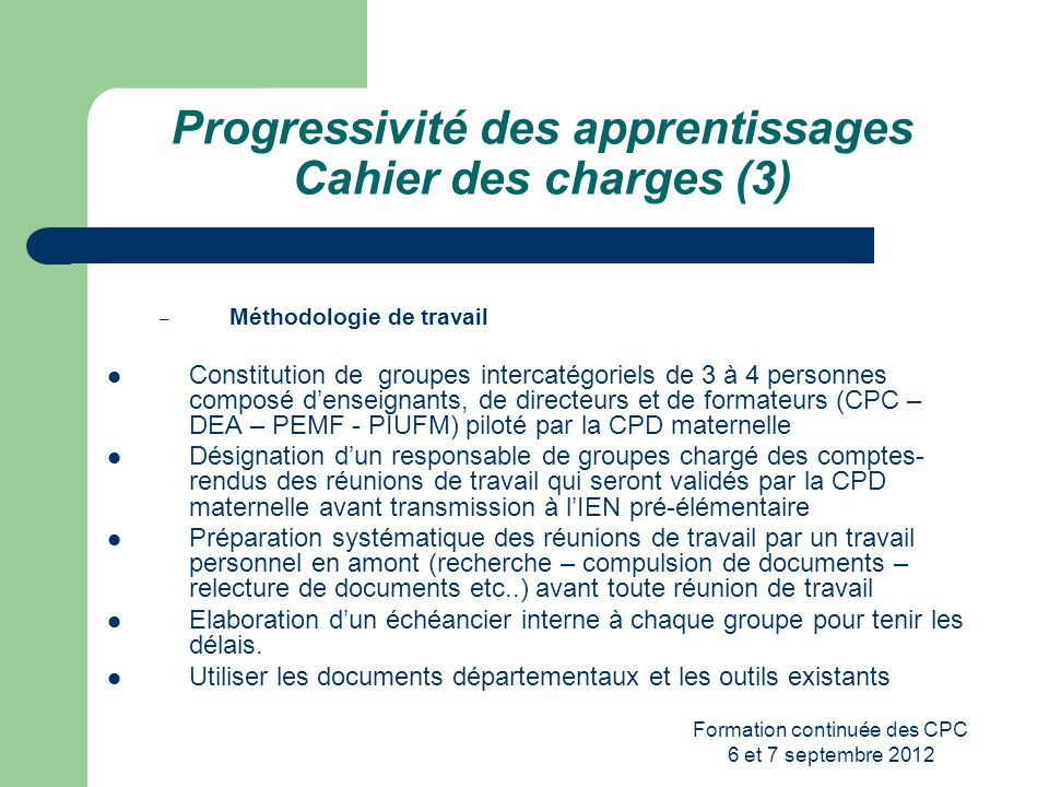 Progressivité des apprentissages Cahier des charges (3)
