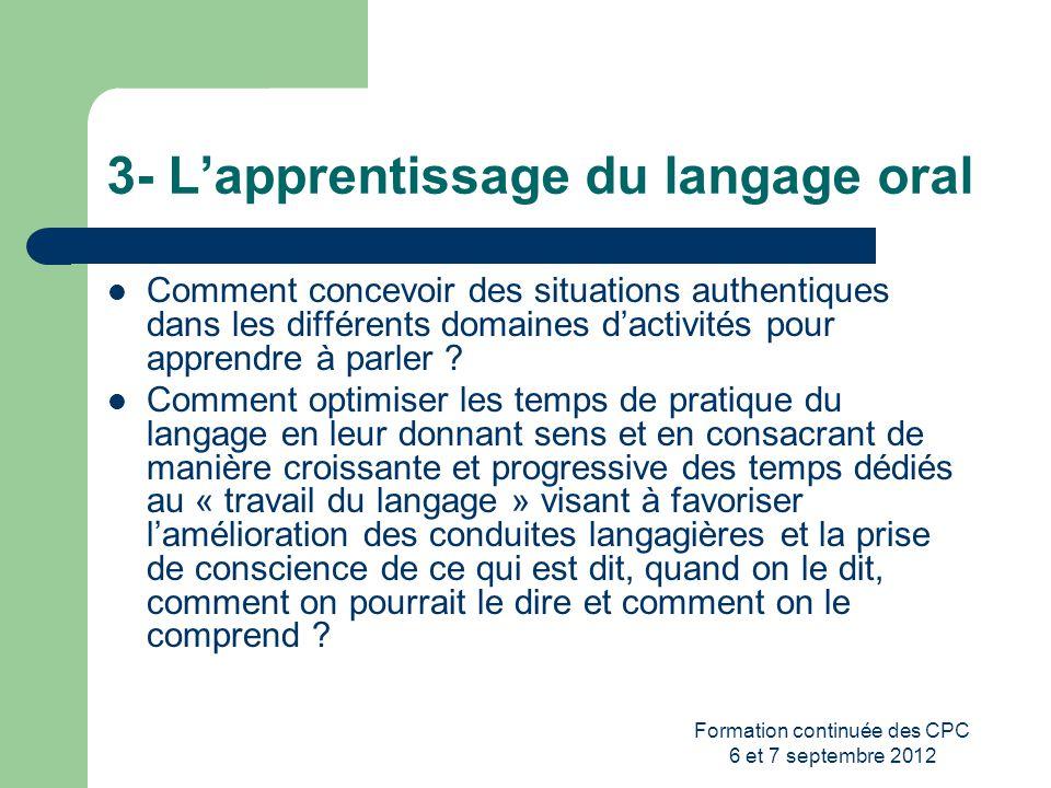 3- L'apprentissage du langage oral