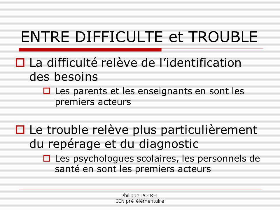 ENTRE DIFFICULTE et TROUBLE