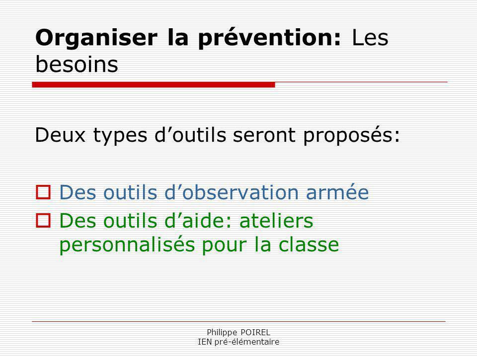 Organiser la prévention: Les besoins