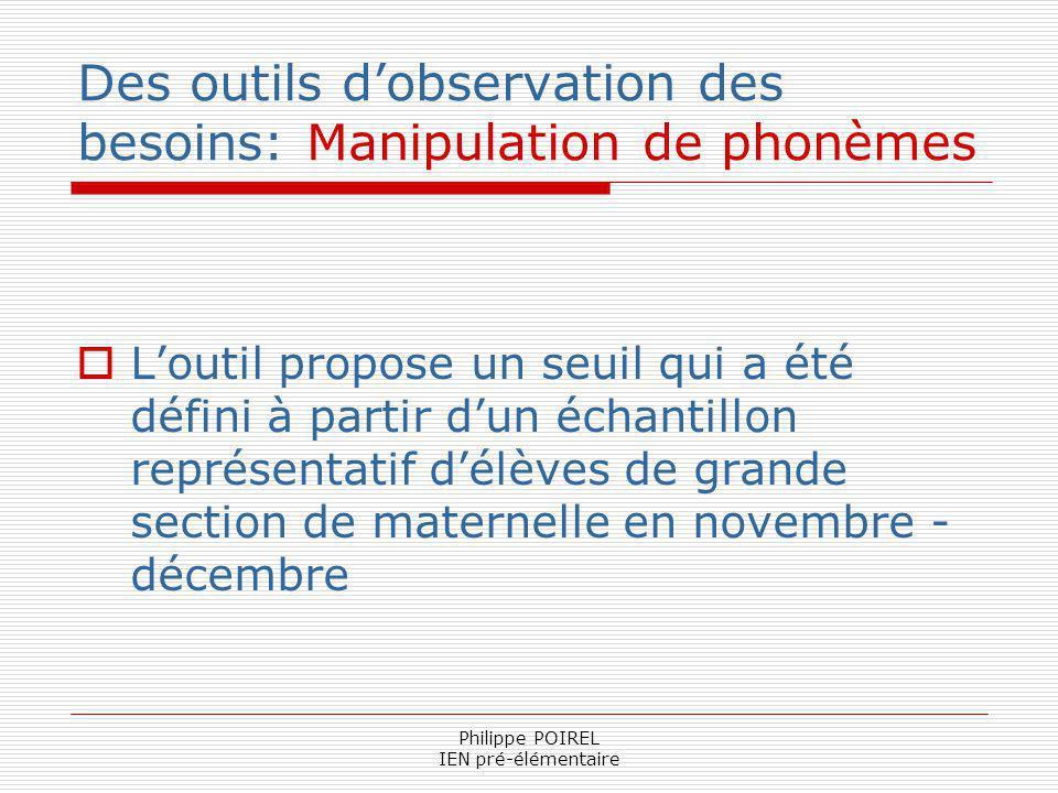 Des outils d'observation des besoins: Manipulation de phonèmes