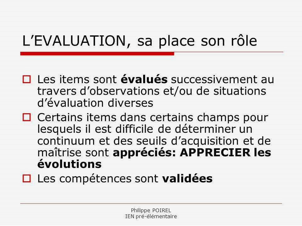 L'EVALUATION, sa place son rôle